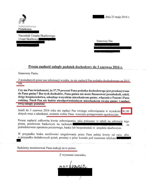 Pismo od Naczelnika Urzędu Skarbowego w Polsce