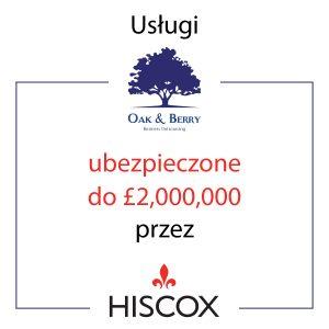 Usługi Księgowości Oak&Berry Ubezpieczone przez Hiscox - grafika kwadratowa