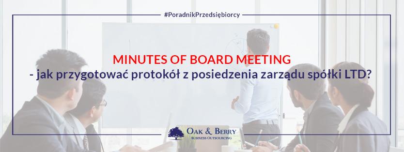 Minutes of Board Meeting – jak przygotować protokół z posiedzenia zarządu spółki LTD?